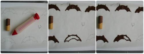 explication en photo pour expliquer comment faire des ailes de chauve souris en chocolat ?