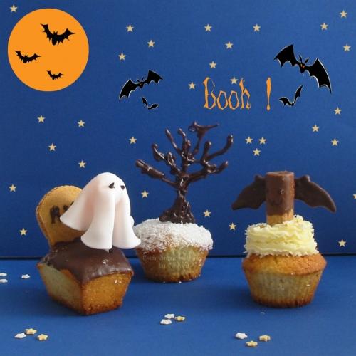 recette de cupcakes à la noix de coco et coeur de chocolat pour Halloween avec fantome et chauve souris