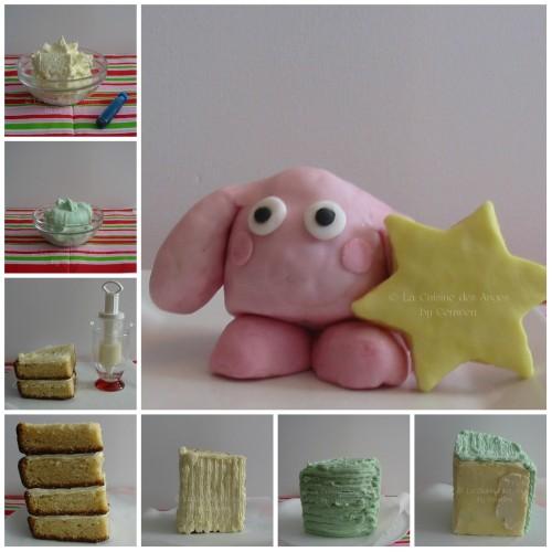 Etapes de la décoration du gâteau Kirby, base gâteau au yaourt, décoration crème au beurre