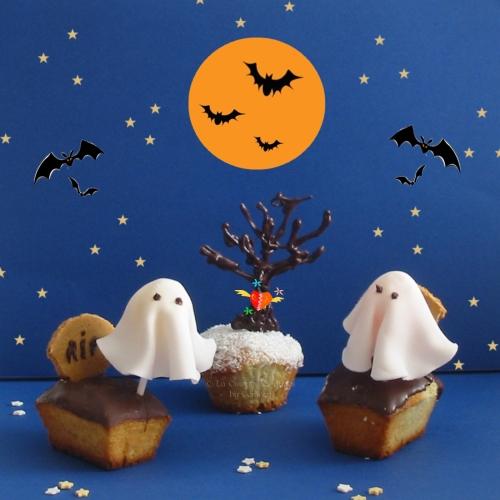 recette de Mini cakes à la noix de coco et au chocolat, déguisés en cupcakes pour Halloween