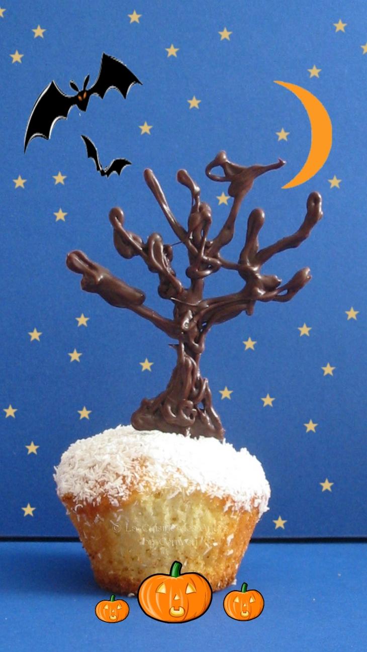 recette de mini cakes, cupcakes pour Halloween, noix de coco et coeur de chocolat noir