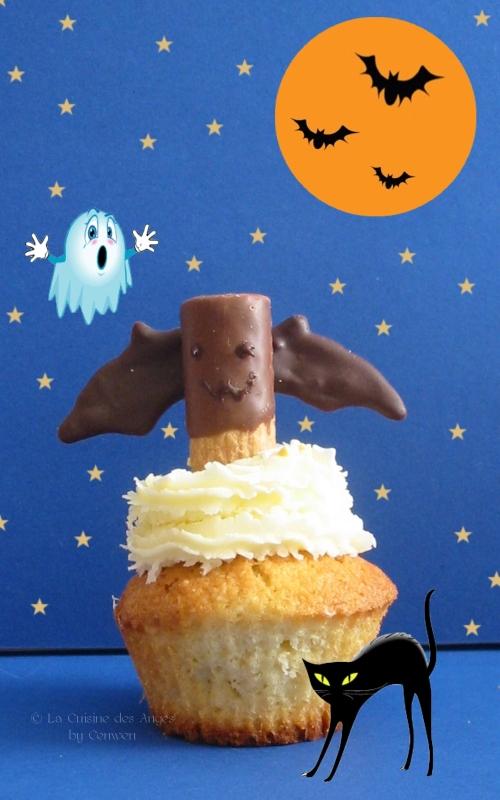 Recette de cupcakes pour Halloween, décorés de chauve-souris en gaufrettes et chocolat