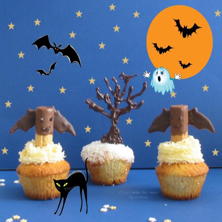 Recette de mini cakes à la noix de coco avec un coeur de chocolat, déguisés en cupcakes d'Halloween avec des chauves souris en bisscuit