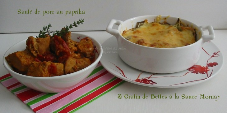recette de plat, viande et légumes, sauté de porc au paprika et à la tomate, gratin de bettes sauce mornay