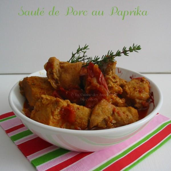 recette de plat, viande, sauté de porc au paprika et à la tomate
