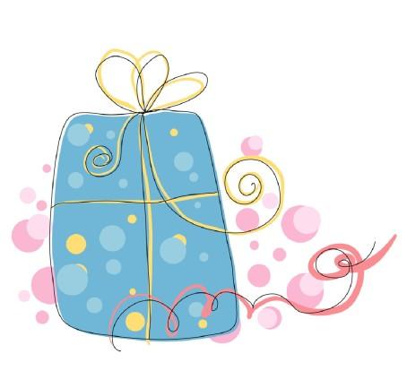 dessin d'un paquet cadeau bleu avec des rubans roses