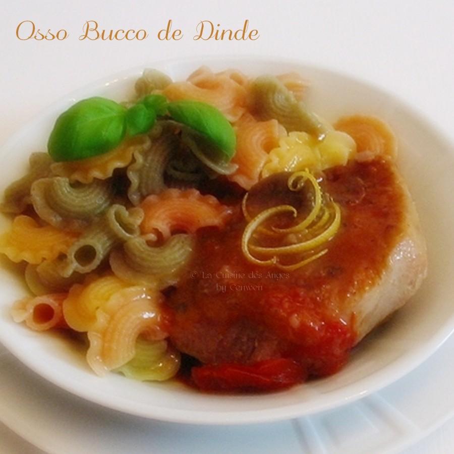 Recette d'osso bucco de dinde, avec des tomates, du vin blanc, des zestes de citron