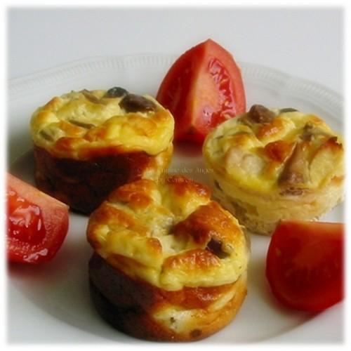 Recette de Petits Flans au Poulet et aux Champignons ig bas sur base d'un appareil à quiche, crème et oeufs