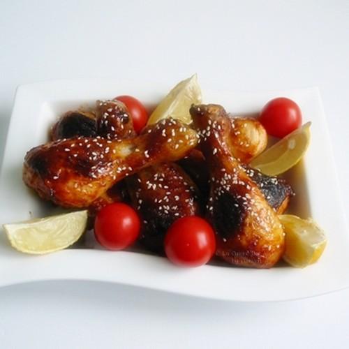 Recette IG Bas de pilons de poulet caramélisésau sirop d'agave avec de l'huile d'olive, du gingembre et du paprika