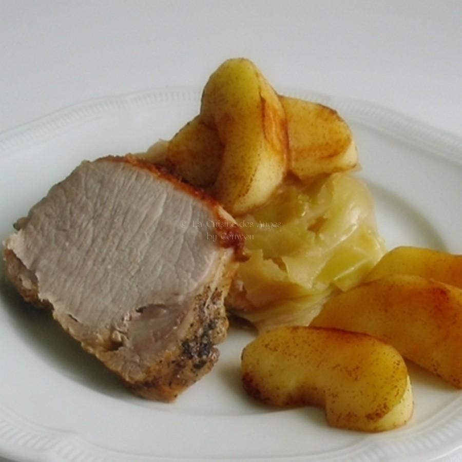 Rôti de Porc au Gingembre avec des Pommes à la Cannelle et du Chou à l'étouffée