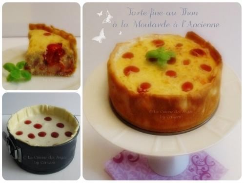 Recette de tarte salée au thon, tomates cerises, surimi, moutarde à l'ancienne, appareil à quiche