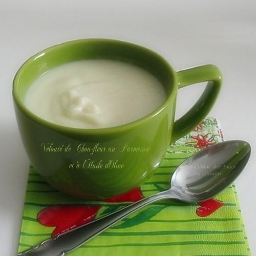 Recette de soupe, recette IG Bas, Velouté de Chou-fleur au Parmesan et à l'Huile d'Olive