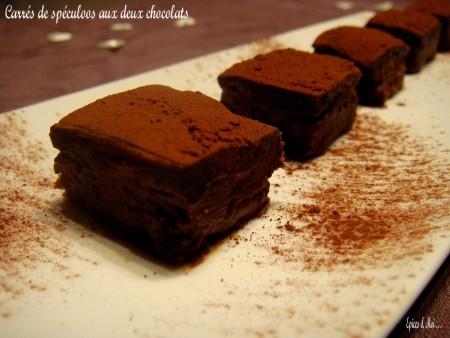 Carrés de spéculoos aux deux chocolats