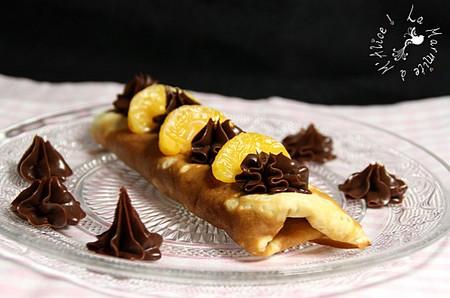 La Cuisine des Anges : Crêpes aux clémentines confites & ganache chocolat  du blog La Marmite à M'Alice