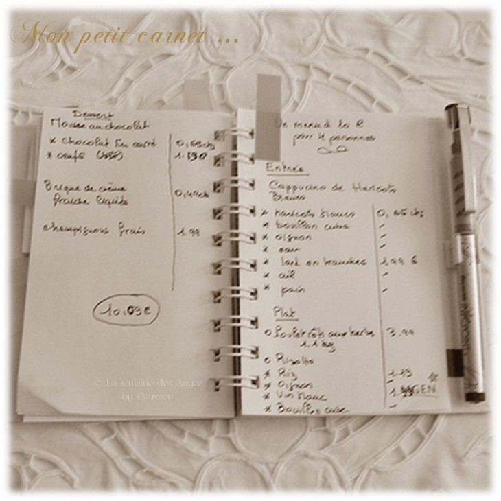 carnet de notes, listes des courses