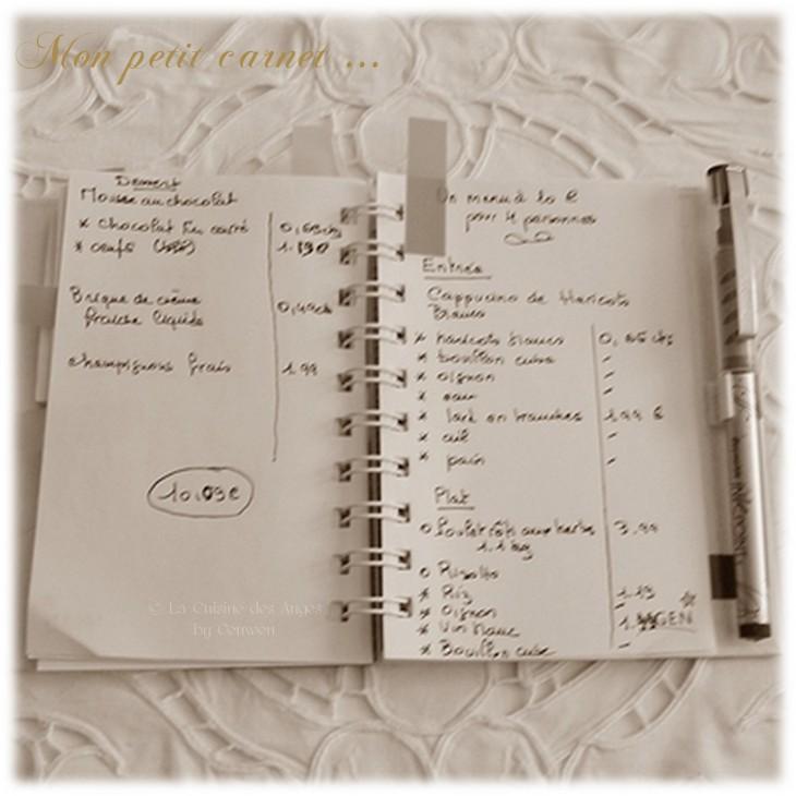 carnet de notes, listes des courses