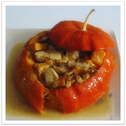 recette de plat, Potiron farci à la Dinde et aux Champignons des Bois