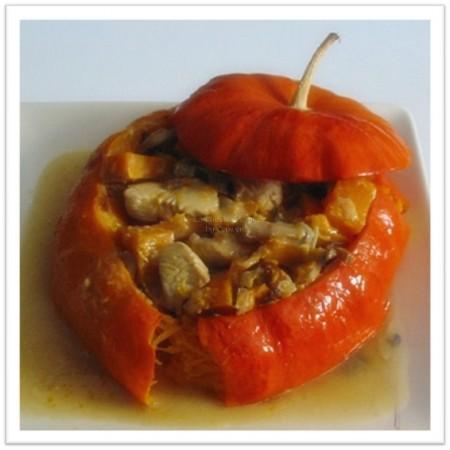recette de Potiron farci à la dinde et aux champignons des bois