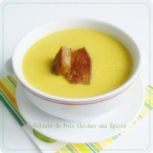 Recette de soupe ou velouté à base de pois chiches et d'épices, recette IG Bas
