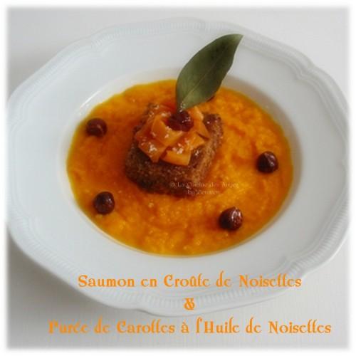 recette de poisson, saumon en panure de noisettes accompagné d'une purée de carottes parfumée à l'huile de noisettes