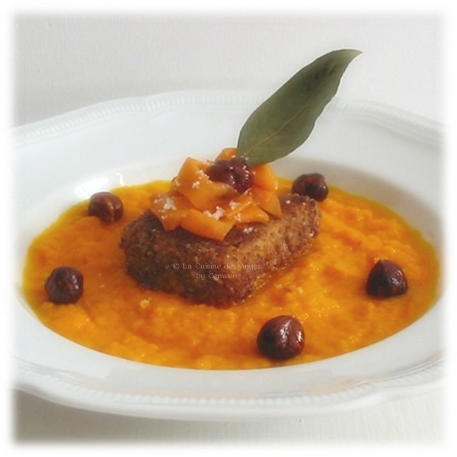 Saumon pané en croûte de noisettes ~ Purée de carottes à l'huile de noisettes