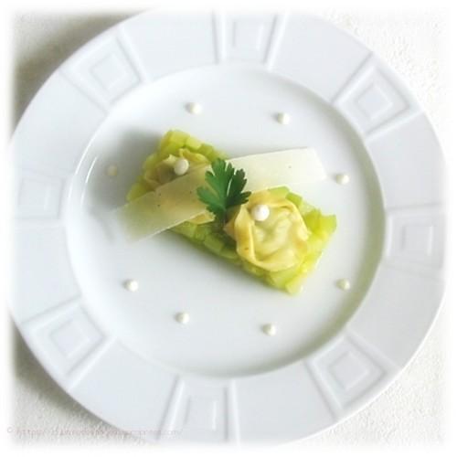 recette de courgettes sautées au beurre, raviolis au pesto et sauce ricotta parmesan