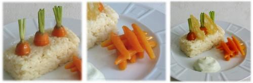 risotto au parmesan  accompagné decarottes tournées et glacées