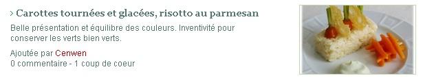 ○ { L'appréciation du Chef Bertrand Simon sur mon travail  carottes tournées et glacées