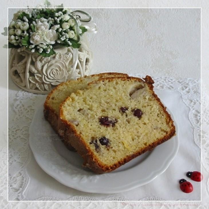 recette de cake à la banane avec du ctrion et des cranberries, recette facile, gâteau