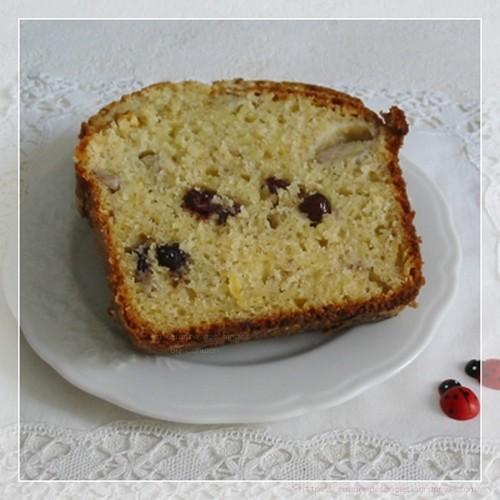 recette de cake maison gâteau à la banane et au citron avec des cranberries
