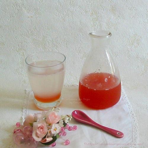 recette de sirop à la rhubarbe, à la rose et au citron vert, à diluer dans de l'eau