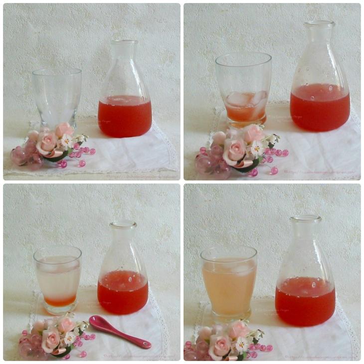 recette de sirop fait maison, à diluer, rhubarbe, citron vert et arôme de rose