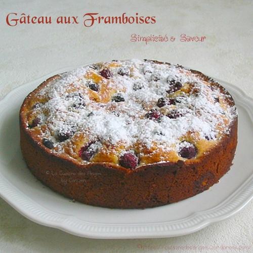 recette de gâteau familial aux framboises, sur une base de quatre quart