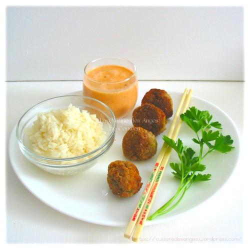recette de boulettes de viande, boeuf ave cdu gingembre et sauce tomate au lait de cooc