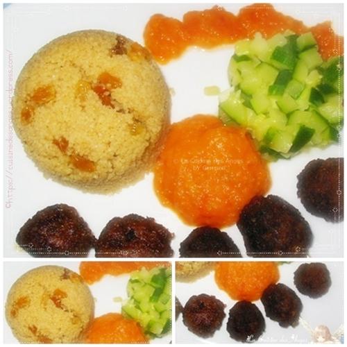 recette de boulettes de viande, au boeuf avec une semoule aux raisins secs et de la sauce tomate