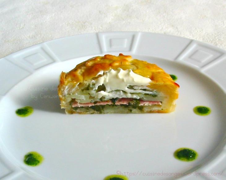 recette de Tourte feuilletée  aux Pommes de Terre et au Jambon, crème fraiche, ail et persil