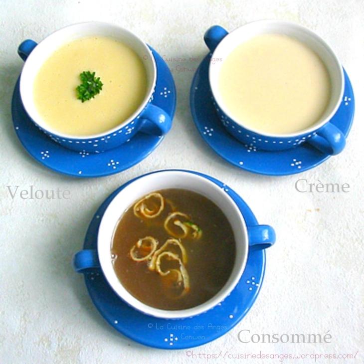 bouillon de volaille, décliné en consommé, crème et velouté