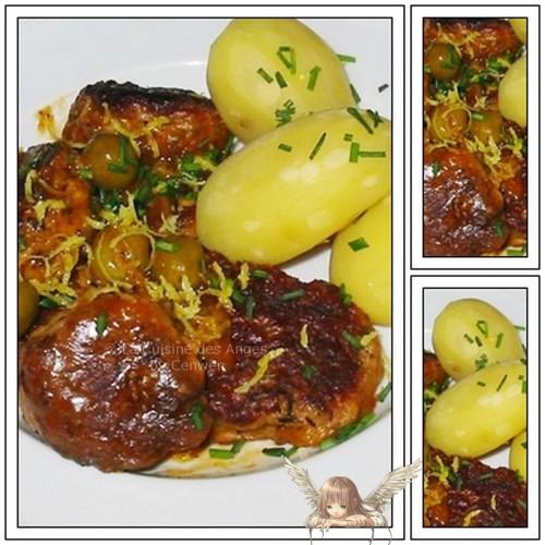 Recette économique de boulettes de viande de boeuf parfumées aux zestes de citrion, accompagnées de pommes de terre et d'olives