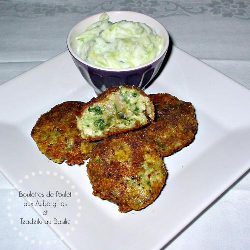 Recette économique de boulettes de poulet à l'aubergine, avec une sauce au yaourt grec au basilic et concombre