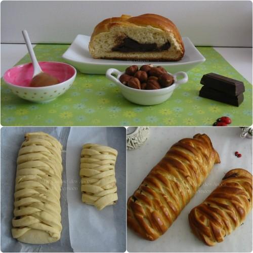 Recette de brioche maison tressée et fourrée à la crème de caramel au beurre salé, chocolat et noisettes
