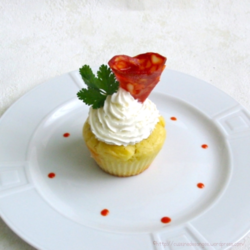 recette économique de cupcakes salés, avec du chorizo et du fromage frais