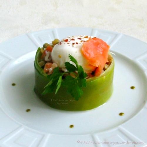 recette économique de salade de lentilles blondes avec du saumon fumé et un oeuf poché