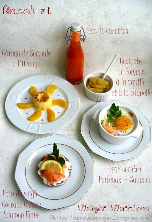 brunch weight watchers, oeufs cocotte au saumon fumé, gâteau de semoule à l'orange, jus de carottes, compote de pommes