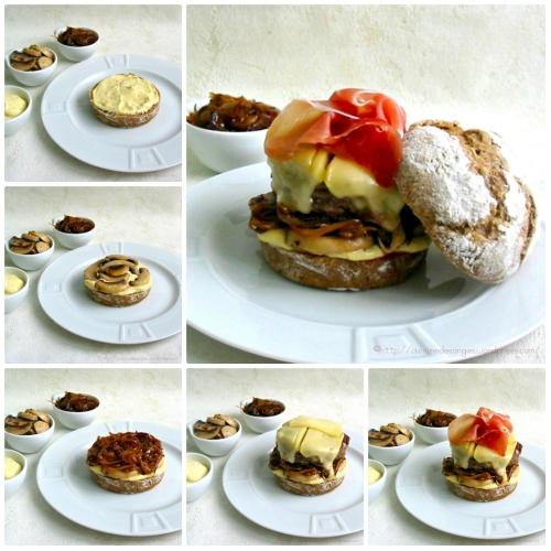 étapes de montage d'un hamburger