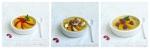 recette économique de flan à la poire accompagné de fruits frais, oranges et fraises ou framboises, banane et copeaux de chocolat