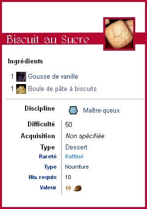fiche technique de la recette des biscuits au sucre ou sablés à la vanille
