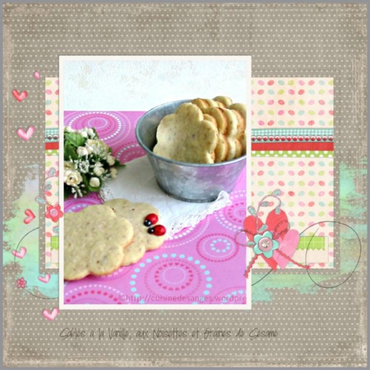 recette de petits biscuits sablés à la vanille avec des noisettes hachées et des graines de sésame