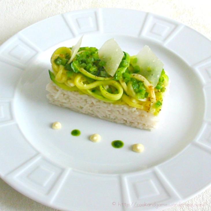 recette de courgettes sautées au beurre et à la noix de muscade sauce à la crème, au parmesan et au camembert