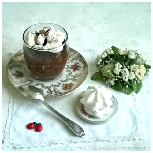 recette de crème au chocolat noir avec des petits morceaux de meringues