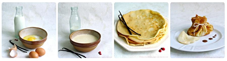 recette de dessert à base de crêpes à la vanille, garnie de poires, fermées en aumônière avec une sauce au chocolat